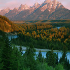 Picture - Grand Teton and Snake River in Grand Teton National Park.