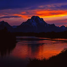 Picture - Sunset over Oxbow Bend of the Snake River and Mt. Moran, in Grand Teton National Park.