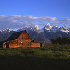 Picture - Moulon barn and Tetons, Teton National Park.