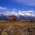 Picture - Ranch and snow covered mountains in Grand Teton National Park.