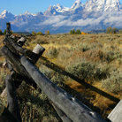Picture - Wooden fence in front of the Teton Range, Grand Teton National Park.