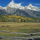 Picture - First snow on Grand Tetons Mountain Range, Wyoming.