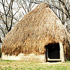 Picture - Reconstruction of dwelling in Grand Village of Natchez Indians.