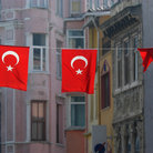 Picture - Turkish flags hang in the Galata district of Istanbul.