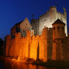 Picture - Lights on the Gravensteen Castle in Gent.