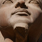 Picture - Detail of Statue of Amun Re in the Temple of Amun in Karnak, Luxor. .