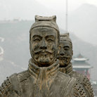 Picture - Warrior statue on the Great Wall of China.
