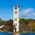 Picture - A clock tower on the waterfront at the Furman University in Greenville.