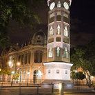 Picture - A clock tower at night in Guayaquil.