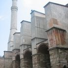 Picture - Side view of the brick minaret of Hagia Sophia in Istanbul.
