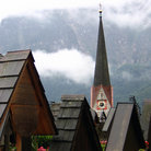 Picture - Church spire in Hallstatt.