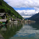 Picture - Buildings lined along Hallstatter See lake in Hallstatt.
