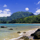Picture - The crescent beach of Hanalei Bay.