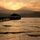 Picture - Sunset over the pier at Hanalei.