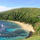 Picture - Hanauma Bay Beach Park which discourages visits because of ecological damage, Oahu.