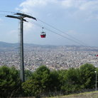 Picture - Cable car with view across the city of Barcelona.