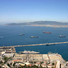 Picture - The harbor in Gibraltar and the Strait of Gibraltar.