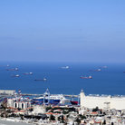 Picture - Ships at the port in Haifa.