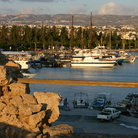 Picture - Sailboats at the Paphos harbor.