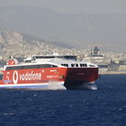 Picture - Shore of Piraeus with ferry.