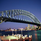 Picture - View of the Sydney Harbor Bridge from below.
