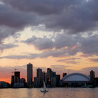 Picture - Toronto skyline at sunset as seen from the harbour, Toronto.