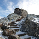 Picture - Snow covered stairs leading to the Observation Tower on top of Harney Peak.