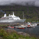 Picture - A cruise ship in the harbour at Heimaey.