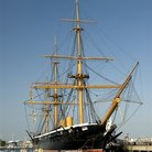 Picture - HMS Warrior docked in Portsmouth.