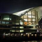 Picture - Hong Kong Convention Center at night.