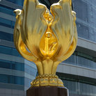Picture - The Golden Bauhinia Sculpture at Golden Bauhinia Square of the Hong Kong Convention and Exhibition Centre.