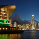 Picture - Evening at the Hong Kong Convention and Exhibition Centre.
