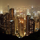 Picture - Aerial view over Hong Kong at night.