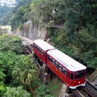 Picture - Train moving up the mountain in Hong Kong.