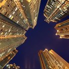 Picture - Night view of high rises in Hong Kong.