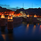 Picture - Night lights at Hoover Dam.