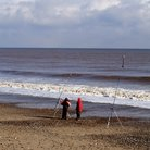 Picture - Fishermen at Hornsea.