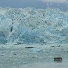 Picture - Tour boat off the Hubbard Glacier.