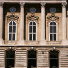 Picture - Windows and columns of the Hungarian National Gallery in Budapest.