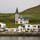Picture - The Husavik Church near the waterfront in Husavik.