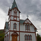 Picture - The uniquely designed Husavik Church in Husavik.
