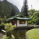 Picture - Pagoda with stream in Iao Valley State Park in Maui, Hawaii.
