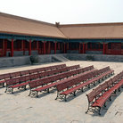 Picture - Benches in the Forbidden City in Beijing.