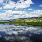 Picture - River and rolling hills near Jackson Hole.