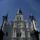 Picture - Upward view of the Cathedral in Jackson Square, New Orleans.