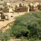 Picture - Oasis in the desert with sandstone cenotaphs, Bada Bagh, Jaisalmer.