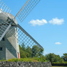 Picture - Windmill against blue sky in Jamestown, Rhode Island.