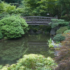 Picture - Footbridge over a pond at the Japanese Gardens in Portland.