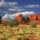 Picture - Sunset colors on the red rock formations in the Jemez mountains of Central New Mexico.