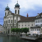 Picture - The Jesuit Church on the embankment of River Reuss.